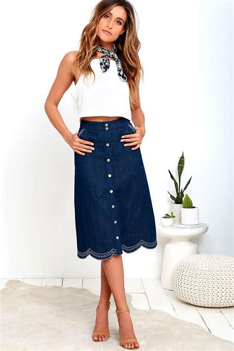 midi skirt denim skirt scalloped skirt