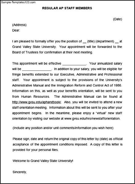 appointment letter format with annexure sle staff memeber appointment letter sle templates