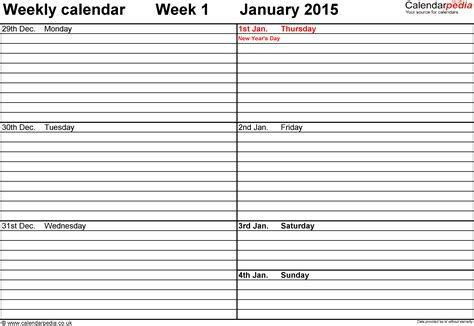 printable weekly calendar pages 2015 weekly calendar 2015 uk free printable templates for excel