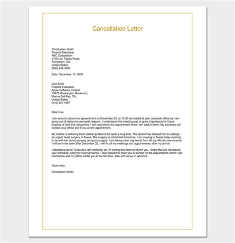 appointment cancellation letter samples examples