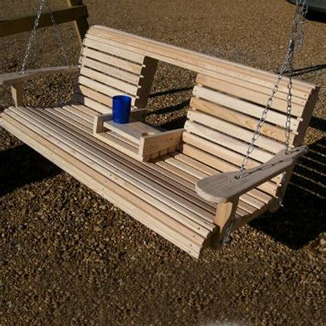swing benches build a wood porch swing with cup holders diy projects