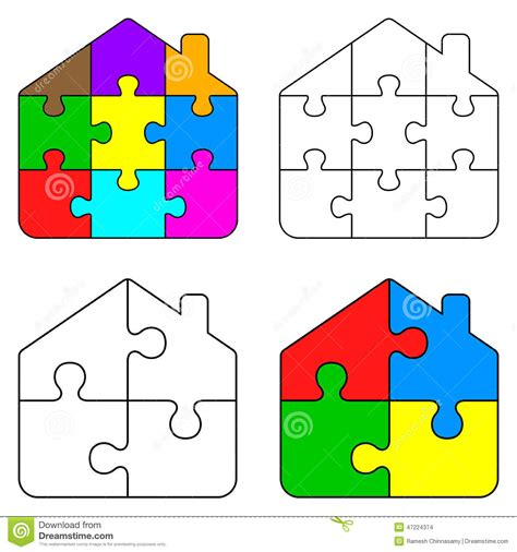 Puzzle House puzzle clipart house outline pencil and in color puzzle