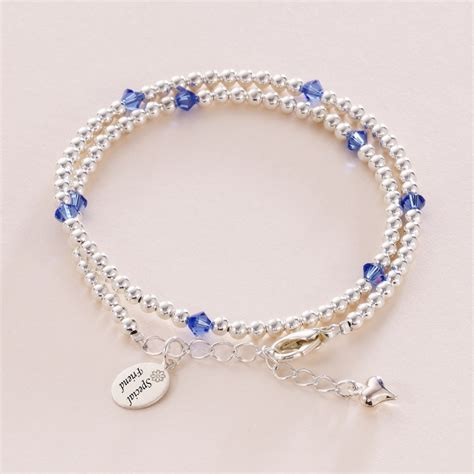 beaded birthstone wrap bracelet with engraved tag
