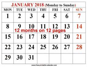 2018 12 Month Calendar Free Printable Calendar 2018 For Free 12 Month
