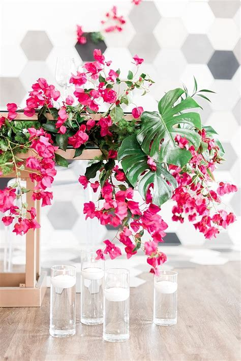 Modern Tropical Wedding Inspiration with Bougainvillea and