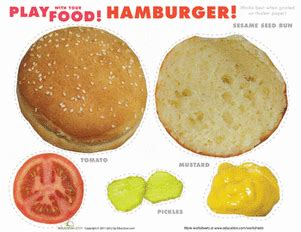 How To Make A Paper Hamburger - play food hamburgers worksheet education