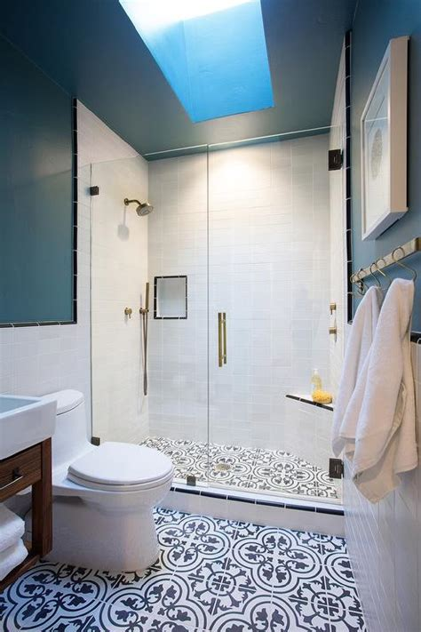 Blue And Black Bathroom Ideas Walk In Shower With Black And White Quatrefoil Cement Tile Shower Floor Transitional Bathroom