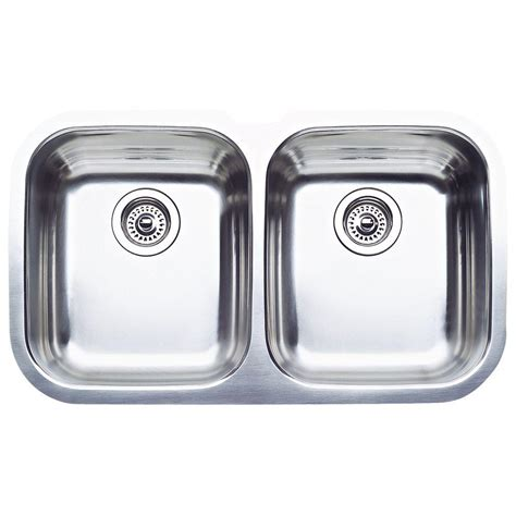 Blanco Stainless Steel Kitchen Sinks Blanco Niagara Undermount Stainless Steel 31 In Equal Bowl Kitchen Sink 440160 The