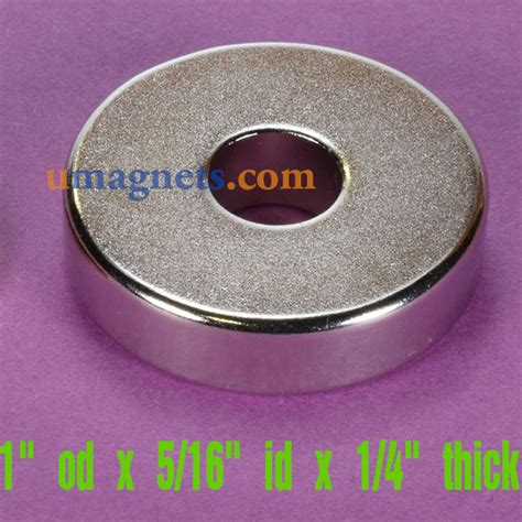1 quot od x 5 16 quot id x 1 4 quot thick n42 neodymium ring magnets