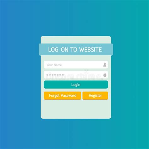 Login Website Template Flat Design Stock Vector Image 43553359 Login Website Template
