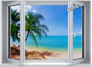 Wall Murals tropical beach window 1 one piece canvas peel amp stick wall mural
