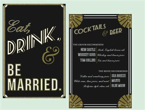 art deco drink and be married sign wedding signage