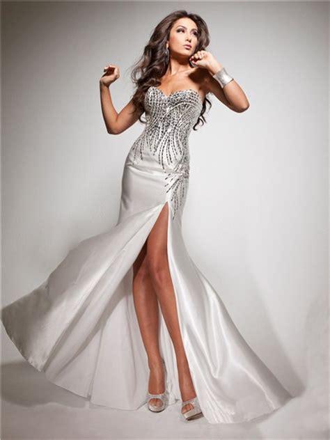 Longdress Set 2in1 Glitter Pink pretty sheath sweetheart white silk prom dress with beading sequins slit