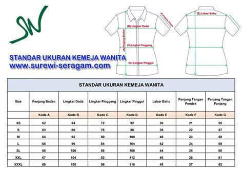 standar ukuran kemeja dan celana di surewi wardrobe