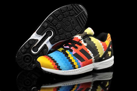 colorful adidas adidas zx flux rainbow colorful yellow blue