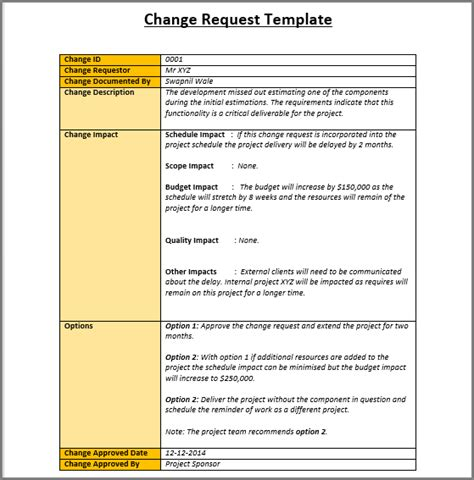 project scope change template change management template excel free templates