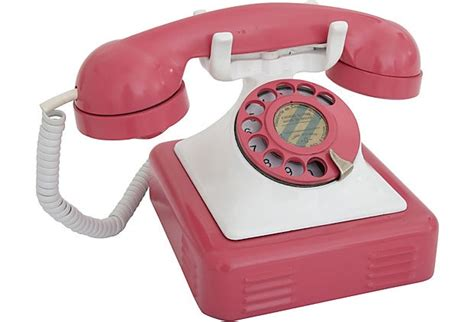 1940s metal desk phone pink white