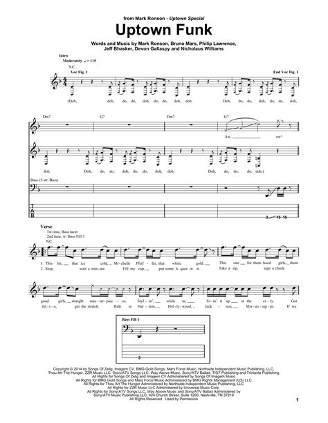 printable lyrics uptown funk uptown funk feat bruno mars bass guitar tab by mark