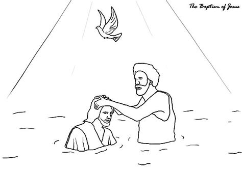 coloring page of john baptizing jesus baptism 94 holidays and special occasions printable