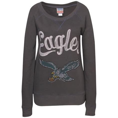 Sweater Hoodie Junk182 Front Logo junk food womens longsleeve philadelphia eagles fleece crew sweatshirt in green lyst