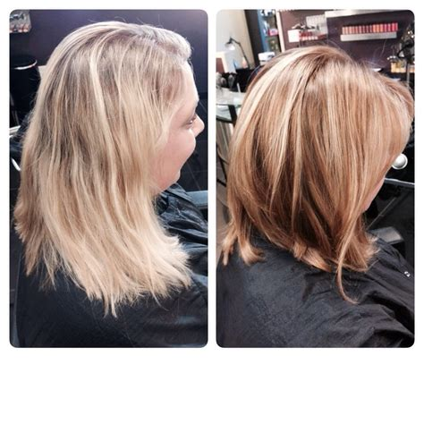 cut before dye hair before and after lob haircut and bronde color hair by