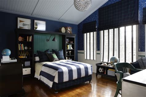 blue and white striped boys room with silver accents