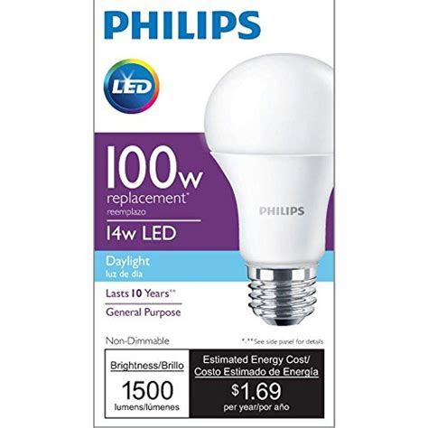 Lu Led Philips 4 Watt philips led non dimmable a19 frosted light bulb 1500 lumen 5000 kelvin 14 watt 100 watt