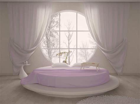 letti circolari da letto con una finestra circolare illustrazione