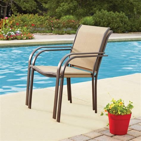 Patio Chairs Walmart Mainstays Stacking Chair Dune Patio Furniture Walmart