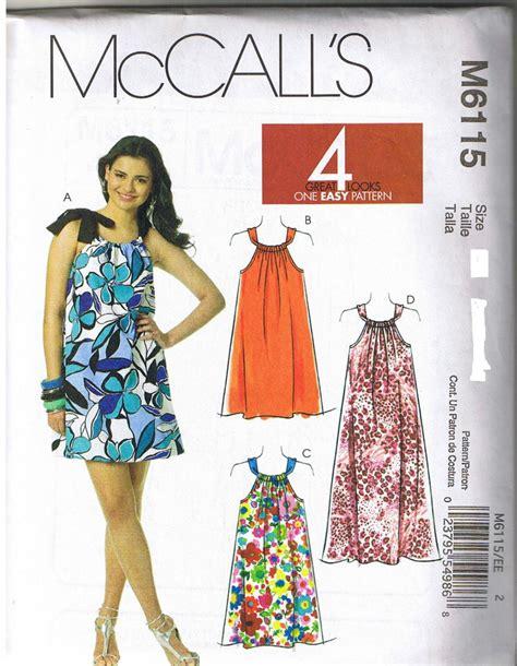 dress pattern 2 yards mccall s 6115 women s pillowcase dress sewing pattern new