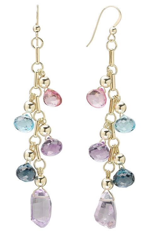 topaz bead gallery jewelry design earrings with pink blue and blue