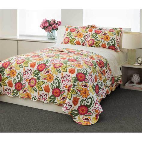 bright floral bedding bright floral 100 percent cotton 3 piece quilt set ebay