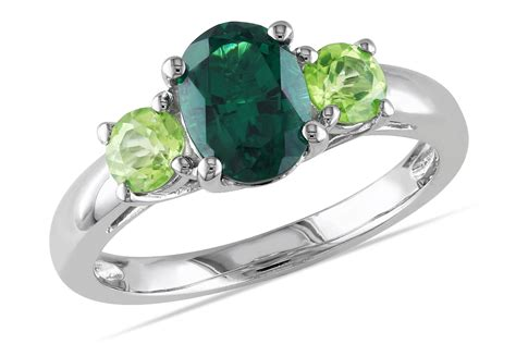 emerald and peridot ring engagement ring unique