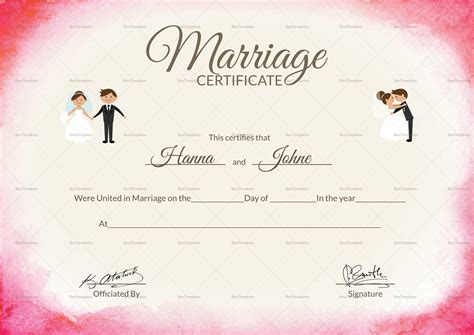Marriage Certificate Template