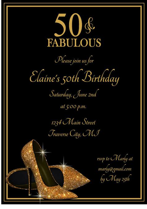 printable birthday invitation cards for adults gold glitter shoes adult birthday party invitation