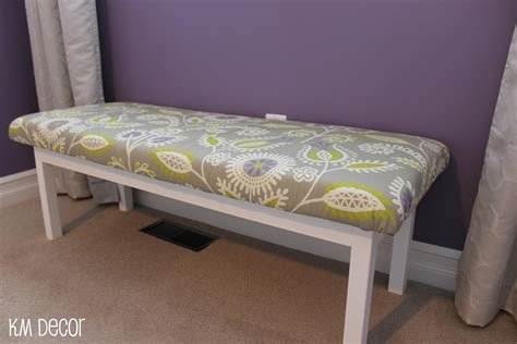 diy upholstered bench km decor diy upholstered bench