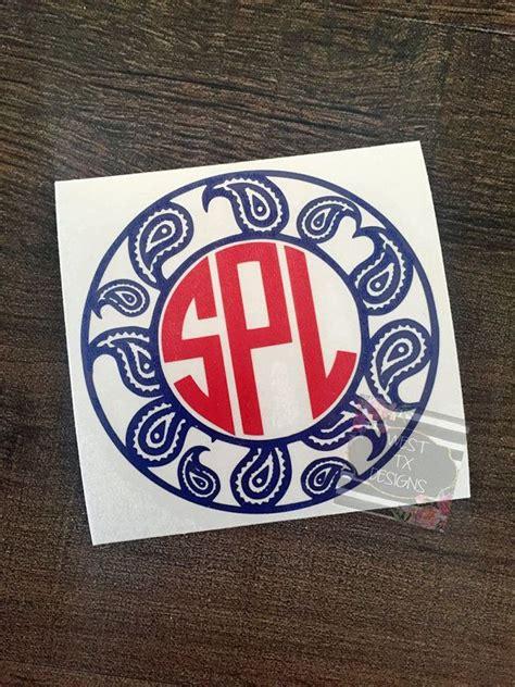 printable vinyl monogram paisley print decal paisley decal monogram by