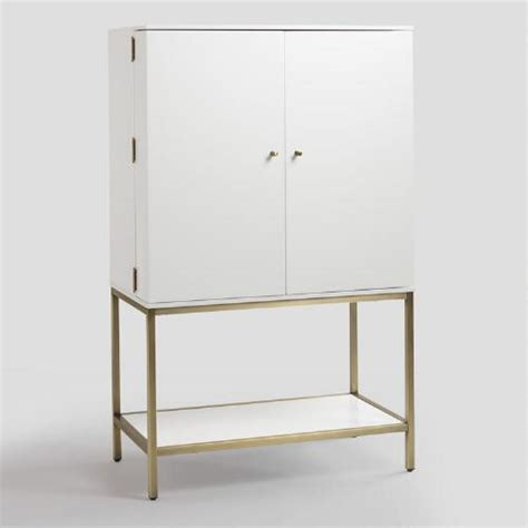 White Metal Cabinet by White Lacquer And Metal Cabinet World Market