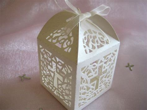 First Communion Giveaways - holy cross white favor boxes for christening favors baptism party first communion