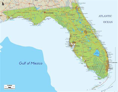 geographic map of florida physical map of florida ezilon maps