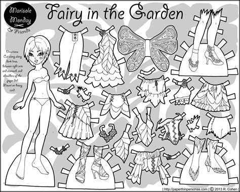 printable paper dolls black and white marisole monday friends mia as a fairy in the garden