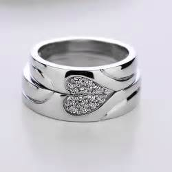 couples wedding rings sterling silver cz 18k gold plated rings matching couples wedding band set yoyoon