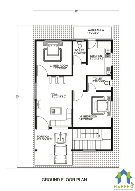 home design plans 30 50 1 bhk floor plan for 20 x 45 feet plot 900 square feet