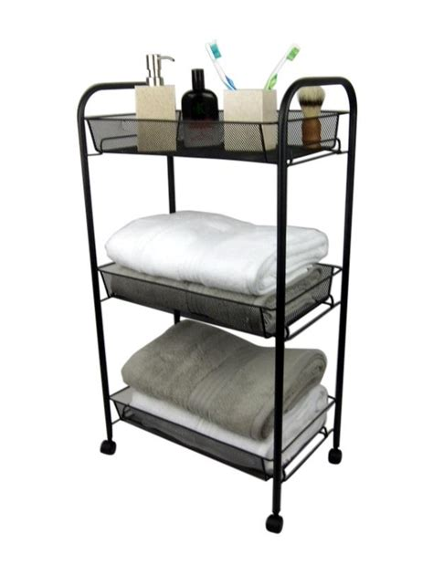 black bathroom storage trolley 3 tier toilet linen towel