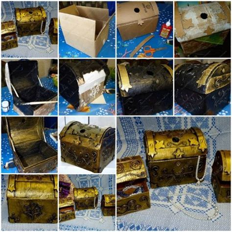 how to make cardboard jewelry treasure box step by step
