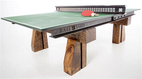 Wood Ping Pong Table by Steel And Wood From A Salvaged Railroad Support This
