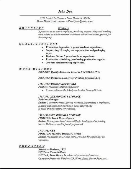 waiter resume format waitress resume exles sles free edit with word