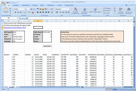 Excel Data Tables by Home Rfcconnector