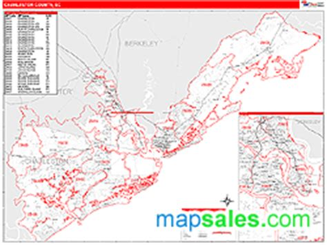 zip code map charleston sc charleston county sc zip code wall map red line style by