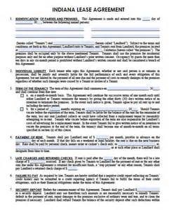 free indiana residential lease agreement pdf word doc